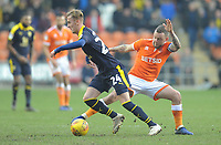 Blackpool's Jay Spearing vies for possession with Oxford United's Mark Sykes<br /> <br /> Photographer Kevin Barnes/CameraSport<br /> <br /> The EFL Sky Bet League One - Blackpool v Oxford United - Saturday 23rd February 2019 - Bloomfield Road - Blackpool<br /> <br /> World Copyright © 2019 CameraSport. All rights reserved. 43 Linden Ave. Countesthorpe. Leicester. England. LE8 5PG - Tel: +44 (0) 116 277 4147 - admin@camerasport.com - www.camerasport.com
