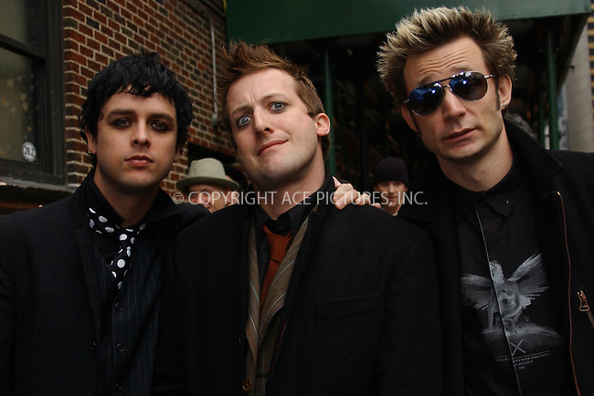 WWW.ACEPIXS.COM . . . . . ....NEW YORK, JANUARY 3, 2004....Green Day at The Late Show with David Letterman.....Please byline: ACE006 - ACE PICTURES.. . . . . . ..Ace Pictures, Inc:  ..Alecsey Boldeskul (646) 267-6913 ..Philip Vaughan (646) 769-0430..e-mail: info@acepixs.com..web: http://www.acepixs.com