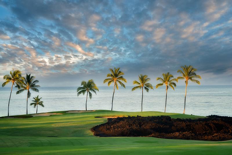 Sunset at  the Hilton Waikoloa Beach Golf Resort. Hawaii, The Big Island