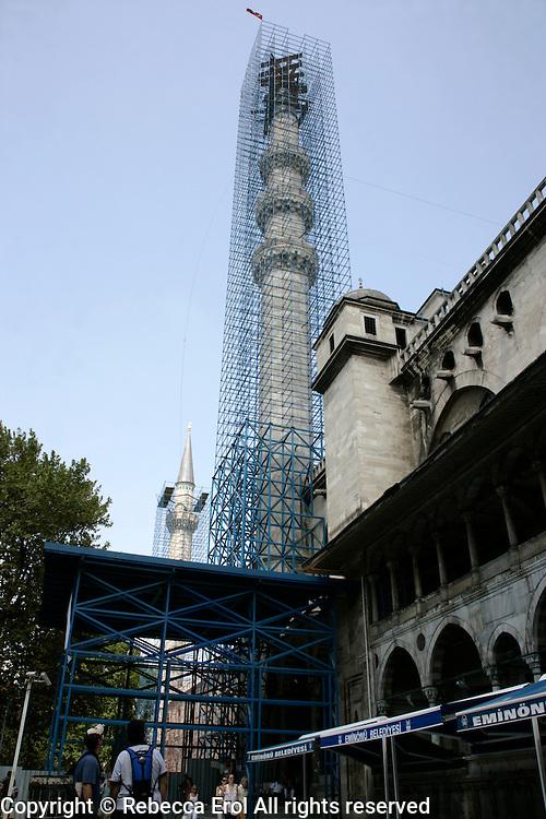 Restoration work and scaffolding at the Suleymaniye Mosque, Istanbul, Turkey