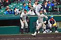 (R-L) Teppei Matsumoto,  Teppei Azuma (Tsuruga Kehi),<br /> APRIL 1, 2015 - Baseball :<br /> Teppei Matsumoto of Tsuruga Kehi celebrates as he runs to home plate after hitting a two-run home run in the bottom of the eighth inning during the 87th National High School Baseball Invitational Tournament final game between Tokai University Daiyon 1-3 Tsuruga Kehi at Koshien Stadium in Hyogo, Japan. (Photo by Katsuro Okazawa/AFLO)8 1