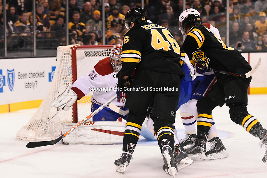 February 8, 2015 - Boston, Massachusetts, U.S. - Montreal Canadiens goalie Carey Price (31) makes a pad save during the NHL game between the Montreal Canadiens and the Boston Bruins held at TD Garden in Boston Massachusetts.