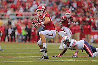 10/31/15<br /> Arkansas Democrat-Gazette/STEPHEN B. THORNTON<br /> Arkansas' Hunter Henry pulls in a pass on 4th and 12 from Ut Martin's 30on Alex Collins dives in the end zone  for his fourth of his four running touchdowns against UT Martin's in the second quarter during their game Saturday in Fayetteville.
