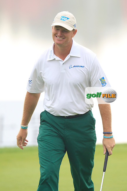 Ernie Els (RSA) putts on the 9th green during Saturay's Round 3 of the 2014 BMW Masters held at Lake Malaren, Shanghai, China. 1st November 2014.<br /> Picture: Eoin Clarke www.golffile.ie