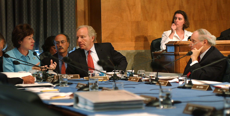 9/22/04.INTELLIGENCE REORGANIZATION--Chairman Susan Collins, R-Maine, ranking Democrat Joseph I. Lieberman, D-Conn., and Sen. Carl Levin, D-Mich., during the Senate Governmental Affairs markup of legislation that would reorganize the intelligence gathering activities of the federal government..CONGRESSIONAL QUARTERLY PHOTO BY SCOTT J. FERRELL