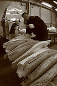 Mar 4, 2006; Tokyo, JPN; Tsukiji.Buyers get there frozen tuna cut in quarters in a warehouse at the Tsukiji Fish Market...After tuna is caught, it is flash frozen at sea to keep it fresh until it is brought to the market to be sold...Photo credit: Darrell Miho