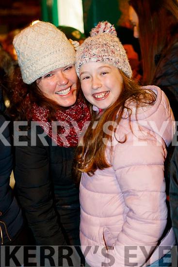 Yvonne and Elsa Daly enjoying the Christmas parade in Killarney on Saturday night.