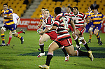 Nigel Watson looks to pass to Niva Ta'auso. Counties Manukau Steelers vs Bay of Plenty Steamers warm up game played at Mt Smart Stadium on 14th of July 2006. Counties Manukau won 25 - 20.