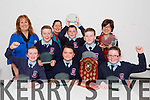 Ardfert NS winners of the Final of Primary school Debating competition in the Tralee Education Centre on Monday Pictured Rory Dalton, Sarah Lawlor, Pádraig O'Sullivan, Eimear O'Sullivan, Lorcan Ryan, Christopher Egan, Betty Stack (principal), Caitríona Ná Cullota (Dir Education Centre, Dromtacker, Tralee) and Joan Holland (teacher)