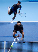 M Bhupathi/L Paes against M Fyrstenberg/M Matkowski in the semi-finals of the Barclays ATP World Tour Finals Doubles. ..@AMN IMAGES, Frey, Advantage Media Network, Level 1, Barry House, 20-22 Worple Road, London, SW19 4DH.Tel - +44 208 947 0100.email - mfrey@advantagemedianet.com.www.amnimages.photoshelter.com.