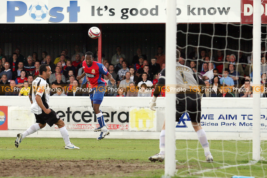 Jon Nurse of Dagenham goes close with a header - Dagenham & Redbridge vs Hereford United 01/05/2010 - MANDATORY CREDIT: Dave Simpson/TGSPHOTO - Self billing applies where appropriate - 0845 094 6026 - contact@tgsphoto.co.uk -NO UNPAID USE