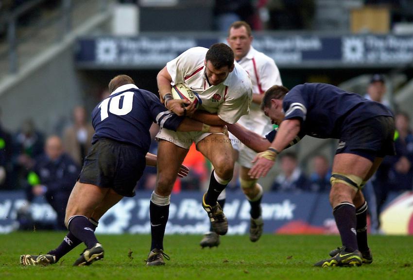 Photo. Richard Lane.England v Scotland. RBS Six Nations Chamionship. 22/03/2003.Martin Johnson attacks.