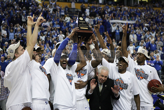 The UK men's basketball team celebrates UK's SEC championship win over Mississippi State  Bridgestone Arena in the SEC Finals on Sunday, March 14, 2010. Photo by Britney McIntosh   Staff