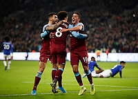 28th December 2019; London Stadium, London, England; English Premier League Football, West Ham United versus Leicester City; Pablo Fornals of West Ham United celebrates with Felipe Anderson and Ryan Fredericks of West Ham United after scoring his sides 1st goal in the 45th minute to make it 1-1 - Strictly Editorial Use Only. No use with unauthorized audio, video, data, fixture lists, club/league logos or 'live' services. Online in-match use limited to 120 images, no video emulation. No use in betting, games or single club/league/player publications