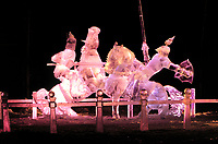Award winning Ice sculpture, The Joust, World Ice Sculpting Competition, Fairbanks, Alaska