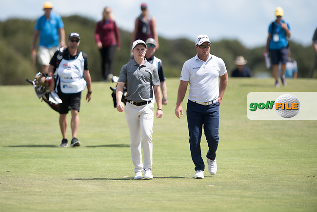 Conor Purcell (IRL) and Ryan Fox (NZL) during the 2nd round of the VIC Open, 13th Beech, Barwon Heads, Victoria, Australia. 08/02/2019.<br /> Picture Anthony Powter / Golffile.ie<br /> <br /> All photo usage must carry mandatory copyright credit (&copy; Golffile | Anthony Powter)
