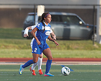 Boston Breakers forward Sydney Leroux (2) looks to pass from the corner. In a National Women's Soccer League Elite (NWSL) match, the Boston Breakers (blue) tied Western New York Flash (white), 2-2, at Dilboy Stadium on June 5, 2013.