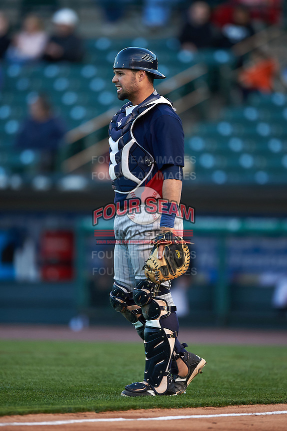 Toledo Mudhens catcher Manny Pina (9) during a game against the Rochester Red Wings on May 12, 2015 at Frontier Field in Rochester, New York.  Toledo defeated Rochester 8-0.  (Mike Janes/Four Seam Images)