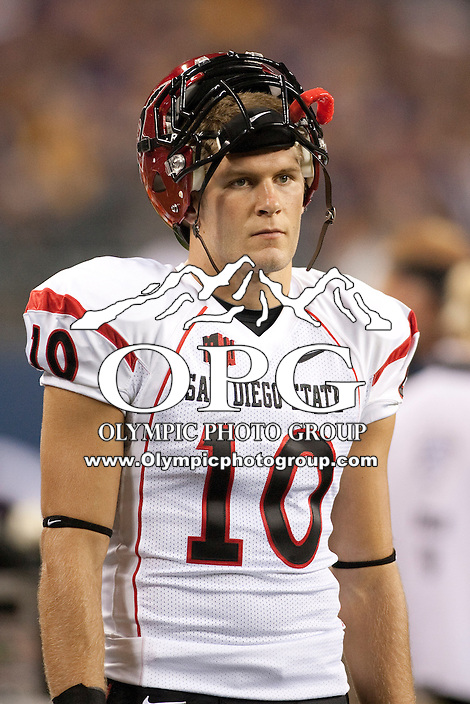 Sept 01, 2012:  San Diego State's #10 Dylan Denso against Washington.  Washington defeated San Diego State 21-12 at CenturyLink Field in Seattle, Washington...