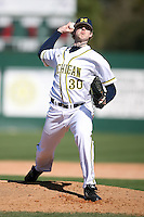 February 20, 2009:  Pitcher Matt Gerbe (30) of the University of Michigan during the Big East-Big Ten Challenge at Jack Russell Stadium in Clearwater, FL.  Photo by:  Mike Janes/Four Seam Images