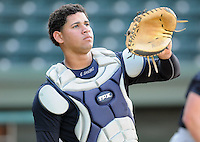 Catcher Gary Sanchez (35) of the Charleston RiverDogs, Class A affiliate of the New York Yankees, prior to a game against the Greenville Drive on April 11, 2011, at Fluor Field at the West End in Greenville, S.C. Photo by Tom Priddy / Four Seam Images