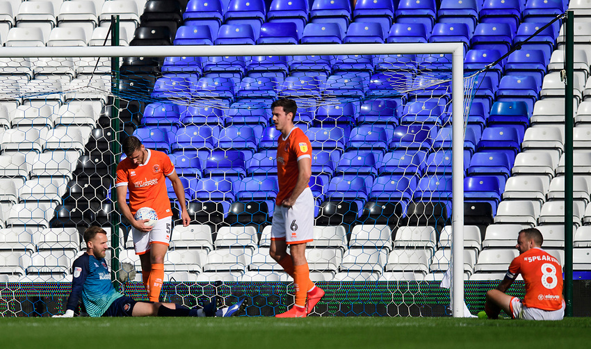 Blackpool players, from left, Jak Alnwick, Ryan Edwards, Ben Heneghan and Jay Spearing react after Coventry City's Callum O'Hare scored his sides third goal of the game<br /> <br /> Photographer Chris Vaughan/CameraSport<br /> <br /> The EFL Sky Bet League One - Coventry City v Blackpool - Saturday 7th September 2019 - St Andrew's - Birmingham<br /> <br /> World Copyright © 2019 CameraSport. All rights reserved. 43 Linden Ave. Countesthorpe. Leicester. England. LE8 5PG - Tel: +44 (0) 116 277 4147 - admin@camerasport.com - www.camerasport.com