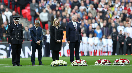 March 26th 2017, Wembley Stadium, London, England; World Cup 2018 Qualification football, England versus Lithuania; Mayor of London Sadiq Khan, FA chairman Greg Clarke, Acting Met Commissioner Craig Mackey and Karen Bradley, Secretary of State for Culture, Media and Sport each lay a wreath in memory of those who died in the Westminster terror attacks ahead of England's World Cup qualifying match against Lithuania