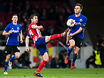 Gabriel Fernandez Arenas, Gabi (L), of Atletico de Madrid battles for the ball with Pierre Bengtsson of FC Copenhague during the UEFA Europa League 2017-18 Round of 32 (2nd leg) match between Atletico de Madrid and FC Copenhague at Wanda Metropolitano  on February 22 2018 in Madrid, Spain. Photo by Diego Souto / Power Sport Images
