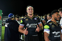 Francois Louw of Bath Rugby celebrates the win after the match. European Rugby Champions Cup match, between Bath Rugby and Leinster Rugby on November 21, 2015 at the Recreation Ground in Bath, England. Photo by: Patrick Khachfe / Onside Images