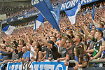 15.04.2018, Veltins-Arena, Gelsenkirchen, GER, 1.FBL, FC Schalke 04 vs Borussia Dortmund, im Bild Schalker Fankurve / Fans / Fanblock / jubelt nach dem 2:0 Sieg<br /> <br /> Foto &copy; nordphoto/Mauelshagen