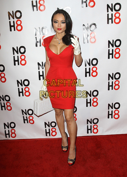 Tila Tequila.NOH8's 3 year Anniversary Celebration Held At The House of Blues, West Hollywood, California, USA..December 13th, 2011.full length dress bag purse black lace peep toe shoes red cleavage white gloves.CAP/ADM/KB.©Kevan Brooks/AdMedia/Capital Pictures.