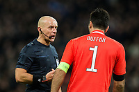 Referee Szymon Marciniak talks to Gianluigi Buffon of Juventus <br /> <br /> Photographer Craig Mercer/CameraSport<br /> <br /> UEFA Champions League Round of 16 Second Leg - Tottenham Hotspur v Juventus - Wednesday 7th March 2018 - Wembley Stadium - London <br />  <br /> World Copyright &copy; 2017 CameraSport. All rights reserved. 43 Linden Ave. Countesthorpe. Leicester. England. LE8 5PG - Tel: +44 (0) 116 277 4147 - admin@camerasport.com - www.camerasport.com