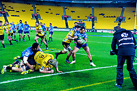 Sam Henwood tackles Augustine Pulu during the Super Rugby match between the Hurricanes and Blues at Westpac Stadium in Wellington, New Zealand on Saturday, 7 July 2018. Photo: Dave Lintott / lintottphoto.co.nz