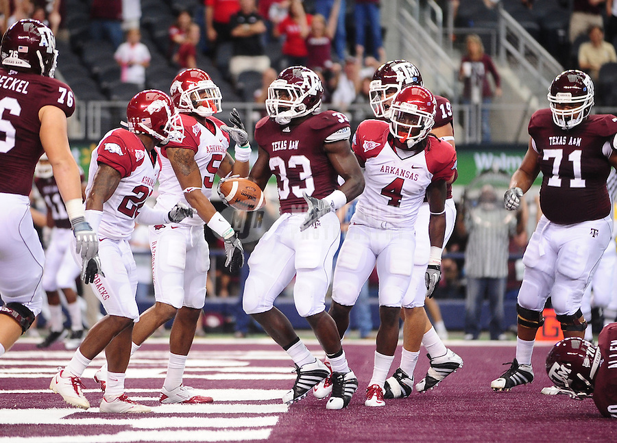 Oct. 9, 2010; Arlington, TX, USA; Texas A&M Aggies running back (33) Christine Michael scores a touchdown in the first quarter against the Arkansas Razorbacks at Cowboys Stadium. Mandatory Credit: Mark J. Rebilas-