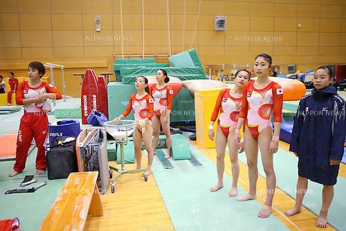 (L-R) <br /> Mai Murakami, <br /> Asuka Teramoto, <br /> Natsumi Sasada, <br /> Aiko Sugihara, <br /> Yuki Uchiyama, <br /> Sae Miyagawa (JPN), <br /> JUNE25, 2016 - Artistic Gymnastics : <br /> Women's Japan National Team Training Camp <br /> at Ajinomoto National Training Center, Tokyo, Japan. <br /> (Photo by AFLO SPORT)