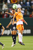 Camile Abilly #20 of the Los Angeles Sol battles Julianne Sitch #38 of Sky Blue FC for control of a loose ball during their WPS game at Home Depot Center on May 15, 2009 in Carson, California.