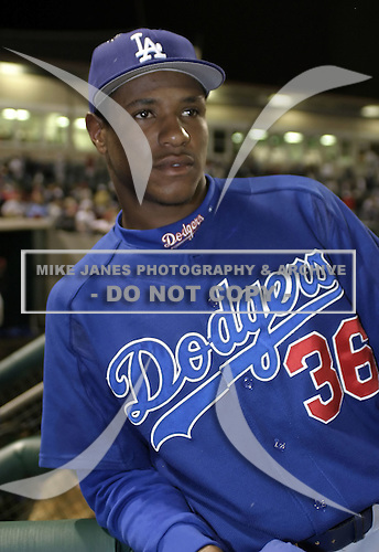 March 25, 2004:  Pitcher Edwin Jackson of the Los Angeles Dodgers organization during Spring Training at Dodgertown in Vero Beach, FL.  Photo copyright Mike Janes/Four Seam Images