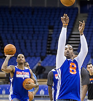 16.01.2013 London, England. New York Knicks guard J.R. Smith (8) and New York Knicks forward Carmelo Anthony (7) in action during team practice ahead of the NBA London Live 2013 game between the Detroit Pistons and the New York Knicks from The O2 Arena