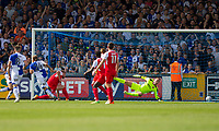 Stuart Sinclair of Bristol Rovers (24) scores his side's first goal during the Sky Bet League 1 match between Bristol Rovers and Fleetwood Town at the Memorial Stadium, Bristol, England on 26 August 2017. Photo by Mark  Hawkins.