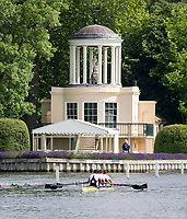 Henley Royal Regatta, Henley on Thames, Oxfordshire, 28 June - 2 July 2017.  Friday  09:37:04   30/06/2017  [Mandatory Credit/Intersport Images]<br /> <br /> Rowing, Henley Reach, Henley Royal Regatta.<br /> <br /> The Prince of Wales Challenge Cup<br />  Molesey Boat Club in front of Temple Island