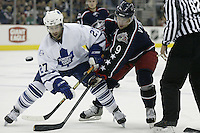20 October 2006: Columbus Blue Jackets' David Vyborny, right, plays against Toronto Maple Leafs' Michael Peca at Nationwide Arena in Columbus, Ohio.<br />