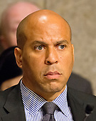 United States Senator Cory Booker (Democrat of New Jersey) listens as the US Senate Committee on Commerce, Science, and Transportation conducts hearings to examine the nominations of Ajit Varadaraj Pai, Jessica Rosenworcel, and Brendan Carr, each to be a Member of the Federal Communications Commission on Capitol Hill in Washington, DC on Wednesday, July 19, 2017.<br /> Credit: Ron Sachs / CNP