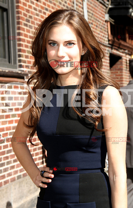 April 03, 2012: Allison Williams at the Late Show with David Letterman in New York City. Credit: RW/MediaPunch Inc.