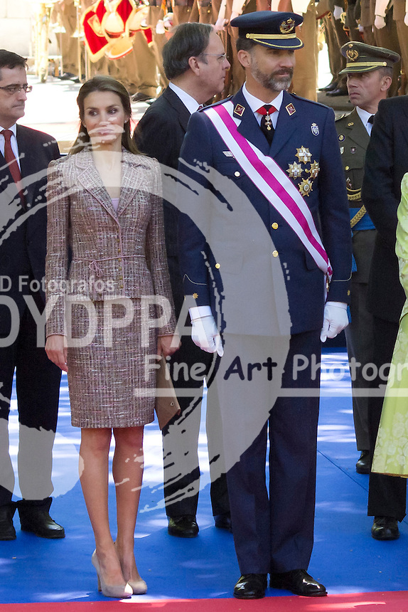 01.06.2013. Madrid. Spain. Spanish Royal family attend the Armed Forces Day. In the image: Princess Letizia of Spain and Prince Felipe of Spain. (C) Ivan L. Naughty / DyD Fotografos//