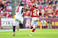 Landover, MD - November 4, 2018: Washington Redskins cornerback Josh Norman (24) and Atlanta Falcons wide receiver Julio Jones (11) fight for position but the ball is overthrown during game between the Atlanta Falcons and the Washington Redskins at FedEx Field in Landover, MD. The Falcons defeated the Redskins 38-13. (Photo by Phillip Peters/Media Images International)