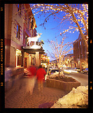 USA, Utah, Park City, a view of mainstreet in downtown Park City at night
