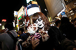 A Japanese in costume poses in the middle of Shibuya scramble crossing on halloween in Tokyo, Japan October 31, 2014.  (Photo by Yuriko Nakao /AFLO)