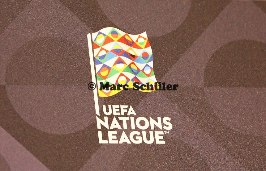 Logo der UEFA Nations League - 15.10.2018: Pressekonferenz DFB vor dem Spiel Frankreich vs. Deutschland, 4. Spieltag UEFA Nations League, Stade de France, DISCLAIMER: DFB regulations prohibit any use of photographs as image sequences and/or quasi-video.