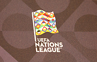 Logo der UEFA Nations League - 15.10.2018: Pressekonferenz DFB vor dem Spiel Frankreich vs. Deutschland, 4. Spieltag UEFA Nations League, Stade de France, DISCLAIMER: DFB regulations prohibit any use of photographs as image sequences and/or quasi-video.