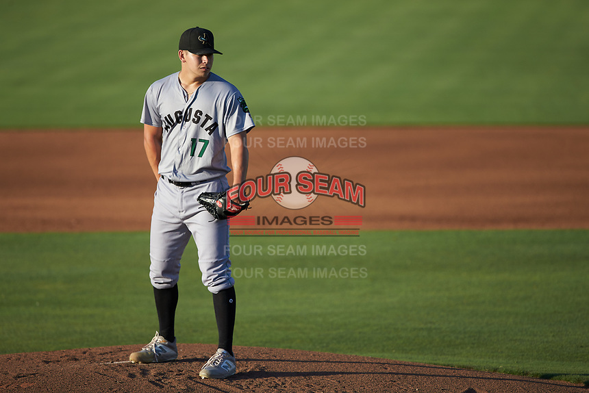Augusta GreenJackets starting pitcher Blake Rivera (17) looks to his catcher for the sign against the Kannapolis Intimidators at Kannapolis Intimidators Stadium on June 21, 2019 in Kannapolis, North Carolina. The Intimidators defeated the GreenJackets 6-1. (Brian Westerholt/Four Seam Images)